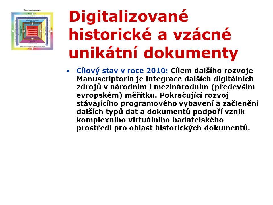 Digitalizované historické a vzácné unikátní dokumenty Cílový stav v roce 2010: Cílem dalšího rozvoje Manuscriptoria je integrace dalších digitálních zdrojů v národním i mezinárodním (především evropském) měřítku.