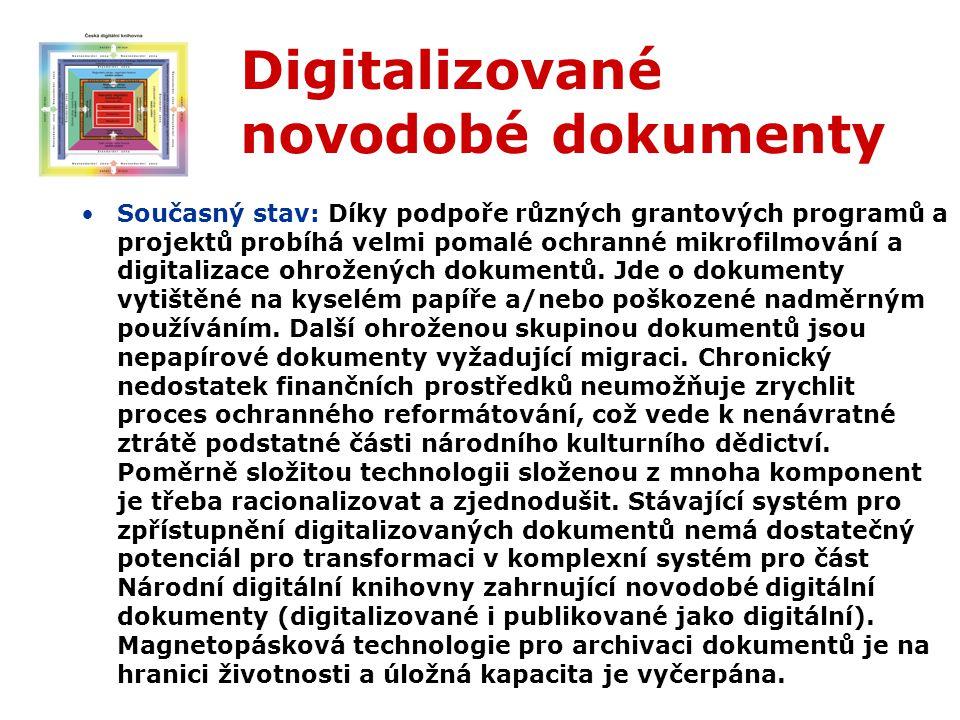 Digitalizované novodobé dokumenty Současný stav: Díky podpoře různých grantových programů a projektů probíhá velmi pomalé ochranné mikrofilmování a digitalizace ohrožených dokumentů.
