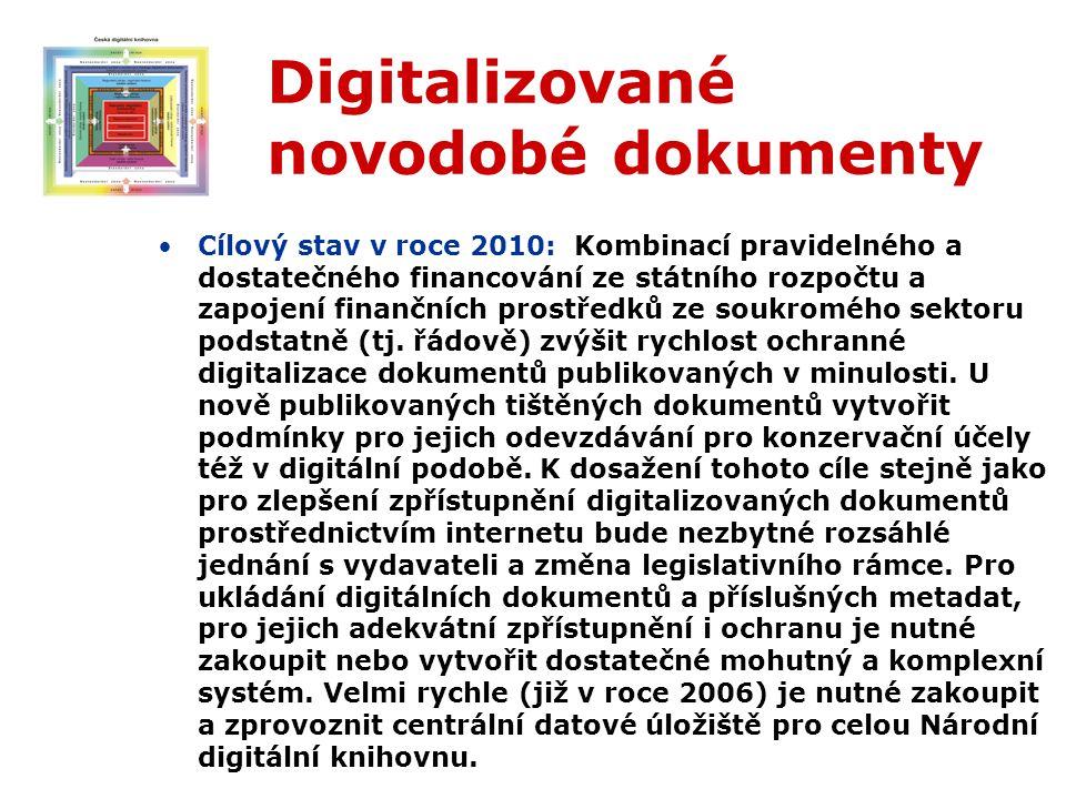 Digitalizované novodobé dokumenty Cílový stav v roce 2010: Kombinací pravidelného a dostatečného financování ze státního rozpočtu a zapojení finančních prostředků ze soukromého sektoru podstatně (tj.