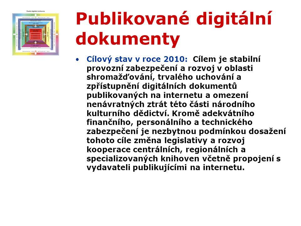 Publikované digitální dokumenty Cílový stav v roce 2010: Cílem je stabilní provozní zabezpečení a rozvoj v oblasti shromažďování, trvalého uchování a zpřístupnění digitálních dokumentů publikovaných na internetu a omezení nenávratných ztrát této části národního kulturního dědictví.
