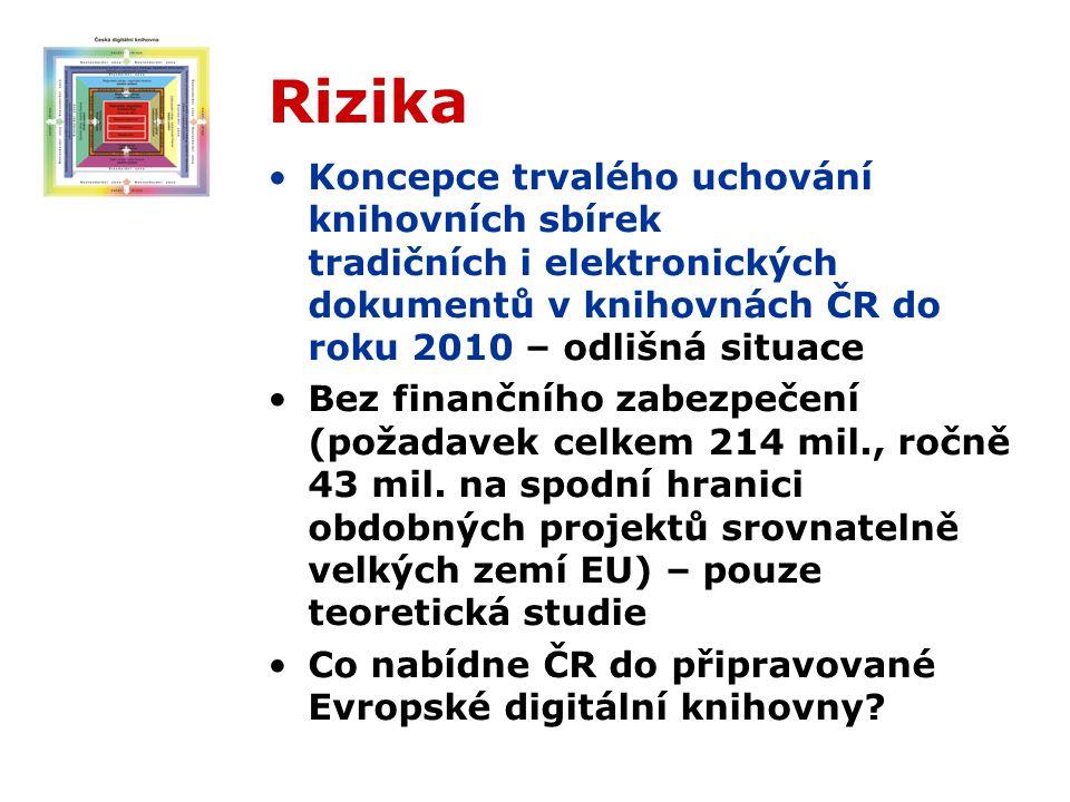 Rizika Koncepce trvalého uchování knihovních sbírek tradičních i elektronických dokumentů v knihovnách ČR do roku 2010 – odlišná situace Bez finančního zabezpečení (požadavek celkem 214 mil., ročně 43 mil.