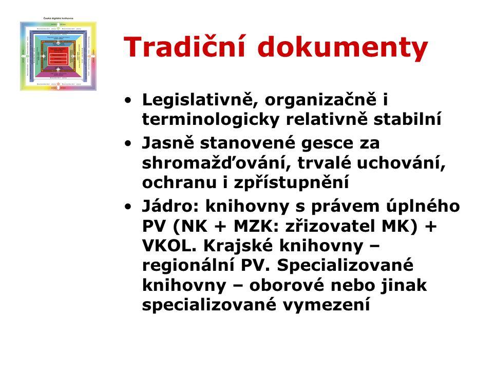 Tradiční dokumenty Legislativně, organizačně i terminologicky relativně stabilní Jasně stanovené gesce za shromažďování, trvalé uchování, ochranu i zpřístupnění Jádro: knihovny s právem úplného PV (NK + MZK: zřizovatel MK) + VKOL.