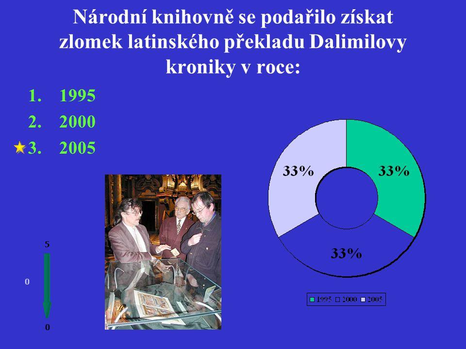 Tři úplné rukopisy Dalimilovy kroniky a dva zlomky psané česky najdeme: 0 0 5 1.V Národním muzeu 2.V Národní knihovně 3.Na Pražském hradě