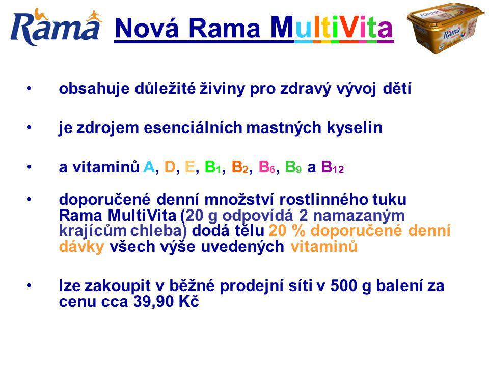 Nová Rama MultiVita obsahuje důležité živiny pro zdravý vývoj dětí je zdrojem esenciálních mastných kyselin a vitaminů A, D, E, B 1, B 2, B 6, B 9 a B