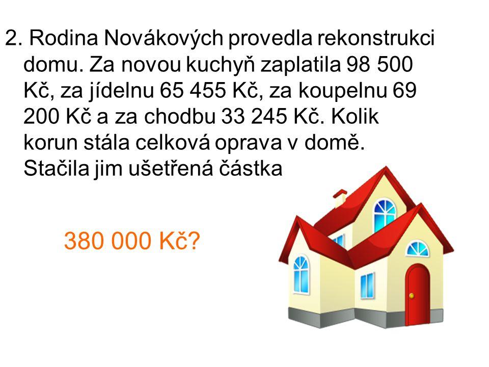 2. Rodina Novákových provedla rekonstrukci domu.
