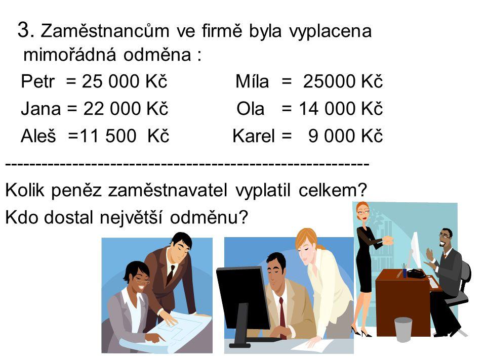 3. Zaměstnancům ve firmě byla vyplacena mimořádná odměna : Petr = 25 000 Kč Míla = 25000 Kč Jana = 22 000 Kč Ola = 14 000 Kč Aleš =11 500 Kč Karel = 9