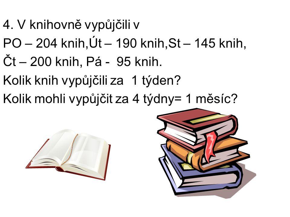 4. V knihovně vypůjčili v PO – 204 knih,Út – 190 knih,St – 145 knih, Čt – 200 knih, Pá - 95 knih.