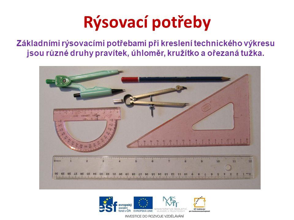 Rýsovací potřeby Základními rýsovacími potřebami při kreslení technického výkresu jsou různé druhy pravítek, úhloměr, kružítko a ořezaná tužka.