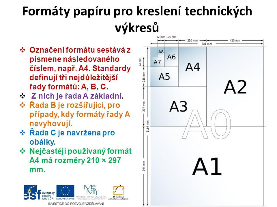 Formáty papíru pro kreslení technických výkresů  Označení formátu sestává z písmene následovaného číslem, např. A4. Standardy definují tři nejdůležit
