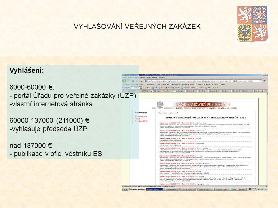 Vyhlášení: 6000-60000 €: - portál Úřadu pro veřejné zakázky (UZP) -vlastní internetová stránka 60000-137000 (211000) € -vyhlašuje předseda ÚZP nad 137000 € - publikace v ofic.