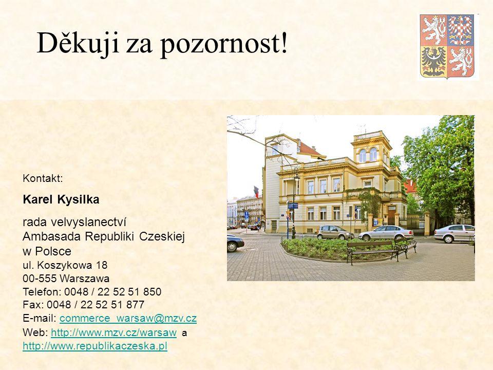 Kontakt: Karel Kysilka rada velvyslanectví Ambasada Republiki Czeskiej w Polsce ul.