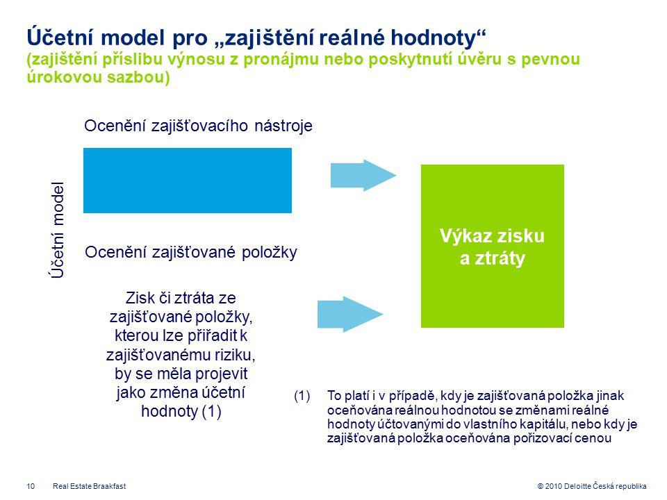 """10 © 2010 Deloitte Česká republika Účetní model pro """"zajištění reálné hodnoty"""" (zajištění příslibu výnosu z pronájmu nebo poskytnutí úvěru s pevnou úr"""