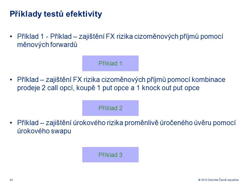 24 © 2010 Deloitte Česká republika Příklady testů efektivity Příklad 1 - Příklad – zajištění FX rizika cizoměnových příjmů pomocí měnových forwardů Př
