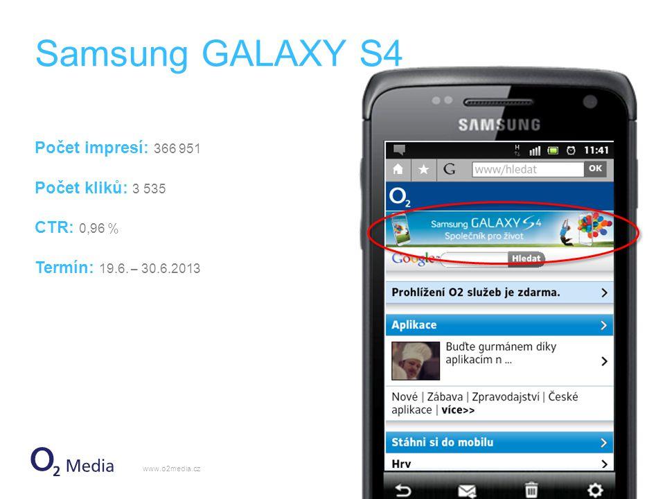 Samsung GALAXY S4 Počet impresí: 366 951 Počet kliků: 3 535 CTR: 0,96 % Termín: 19.6.