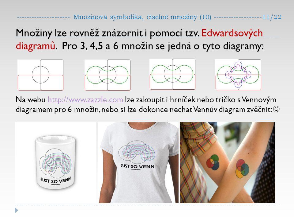 --------------------- Množinová symbolika, číselné množiny (10) -------------------11/22 Množiny lze rovněž znázornit i pomocí tzv. Edwardsových diagr