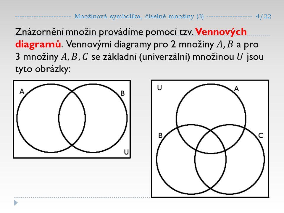 ----------------------- Množinová symbolika, číselné množiny (3) ------------------- 4/22