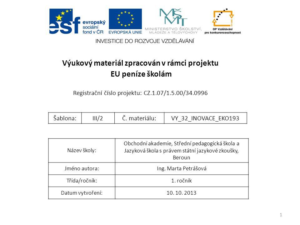 1 Výukový materiál zpracován v rámci projektu EU peníze školám Registrační číslo projektu: CZ.1.07/1.5.00/34.0996 Název školy: Obchodní akademie, Stře
