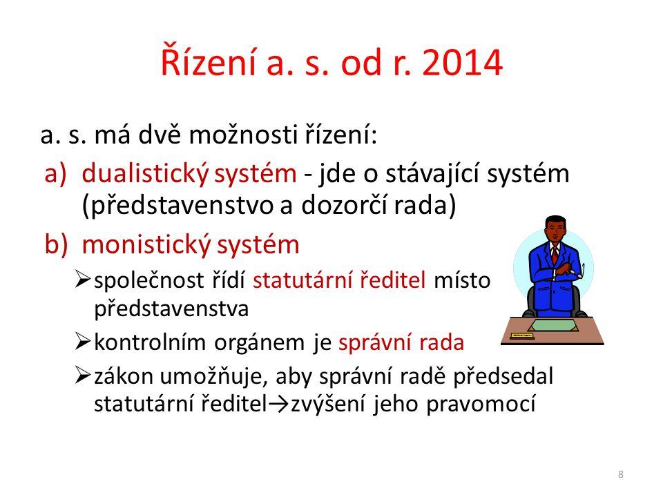 Řízení a. s. od r. 2014 a. s. má dvě možnosti řízení: a)dualistický systém - jde o stávající systém (představenstvo a dozorčí rada) b)monistický systé