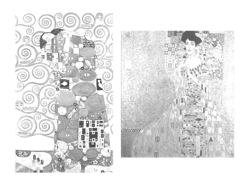 VÝTVARNÝ POSTUP rozdat černobílou kopii varianty obrazu Polibek (či jiné) rozstříhanou na několik dílů doplnit dekorativní a ornamentální kresbou jednotlivé plochy dle fantazie autora a nezávisle na dalších přináležejících částech použít pastelky – progresa, barevné fixy, černý tenký fix, tužku sestavit a slepit jednotlivé výtvarně zpracované části do mozaiky