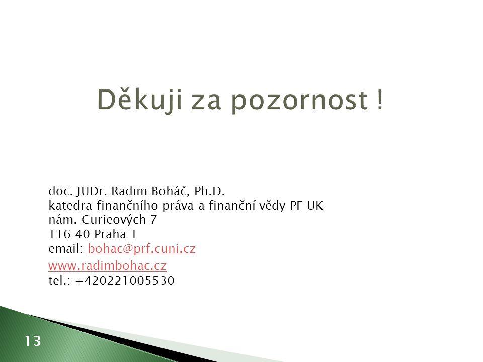 doc. JUDr. Radim Boháč, Ph.D. katedra finančního práva a finanční vědy PF UK nám.
