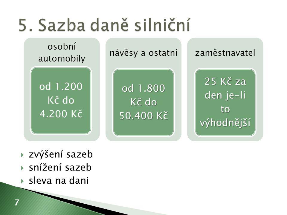  základ x sazba (případně snížená) = daň (případně snížená o slevu dani) 8