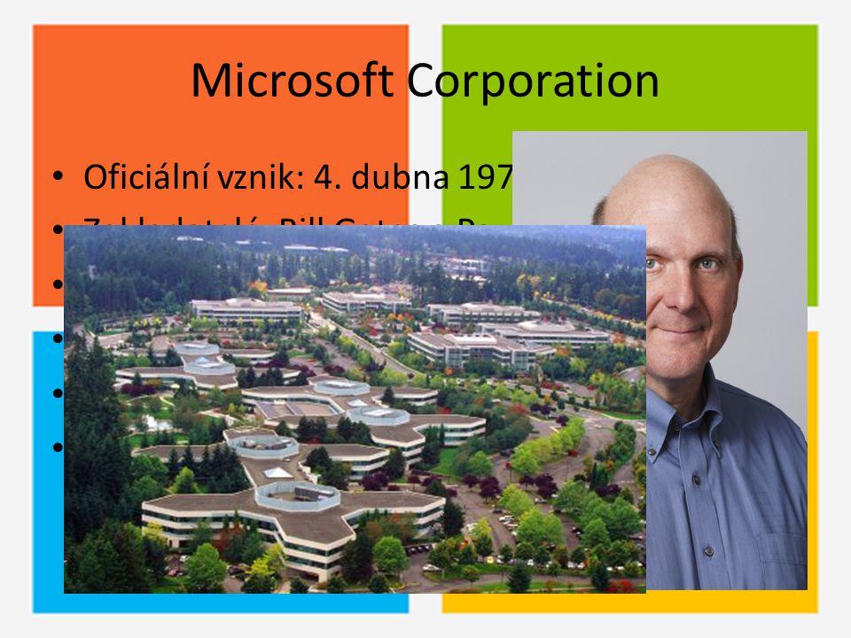 Microsoft Corporation Oficiální vznik: 4. dubna 1975 Zakladatelé: Bill Gates a Paul Allen Status společnosti: akciová národní společnost Sídlo: Redmon