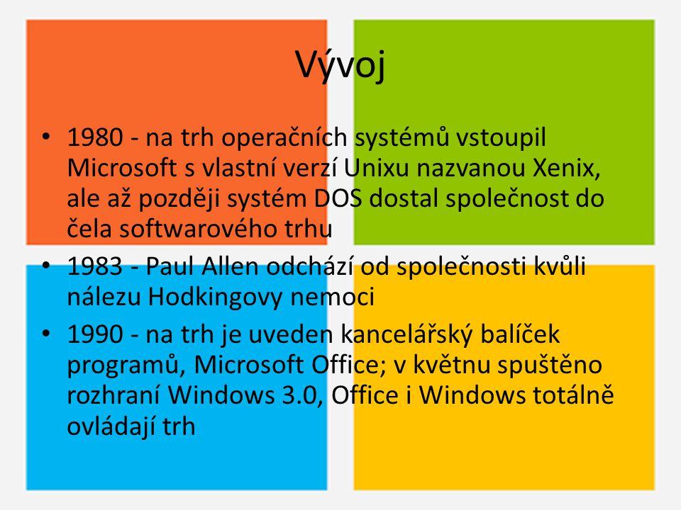 Vývoj 1980 - na trh operačních systémů vstoupil Microsoft s vlastní verzí Unixu nazvanou Xenix, ale až později systém DOS dostal společnost do čela so
