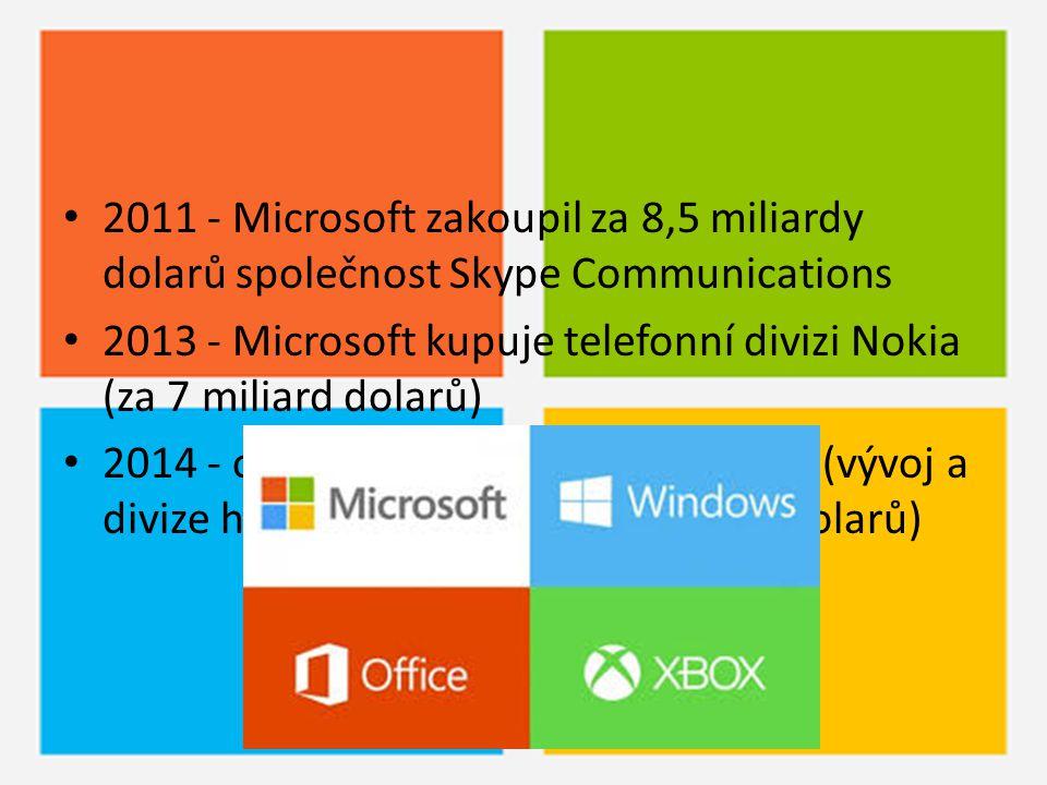 2011 - Microsoft zakoupil za 8,5 miliardy dolarů společnost Skype Communications 2013 - Microsoft kupuje telefonní divizi Nokia (za 7 miliard dolarů)