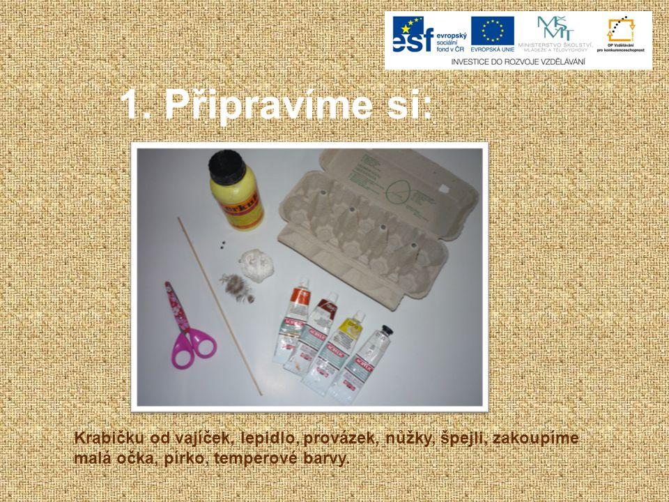 1. Připravíme si: Krabičku od vajíček, lepidlo, provázek, nůžky, špejli, zakoupíme malá očka, pírko, temperové barvy.
