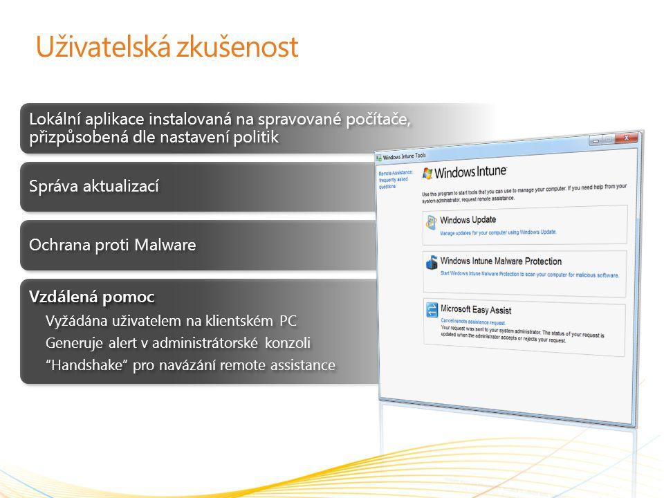 Uživatelská zkušenost Lokální aplikace instalovaná na spravované počítače, přizpůsobená dle nastavení politik Správa aktualizací Ochrana proti Malware