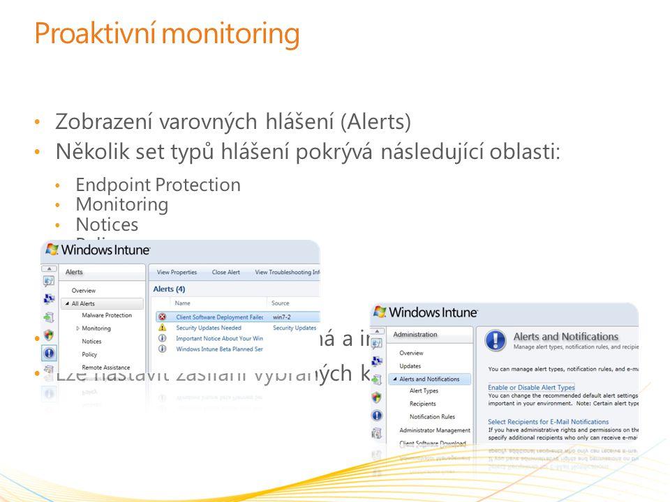 Proaktivní monitoring Zobrazení varovných hlášení (Alerts) Několik set typů hlášení pokrývá následující oblasti: Endpoint Protection Monitoring Notice
