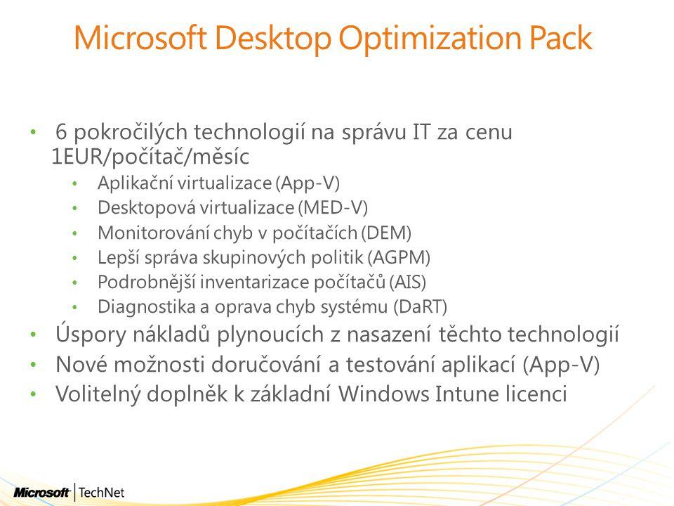 Microsoft Desktop Optimization Pack 6 pokročilých technologií na správu IT za cenu 1EUR/počítač/měsíc Aplikační virtualizace (App-V) Desktopová virtua