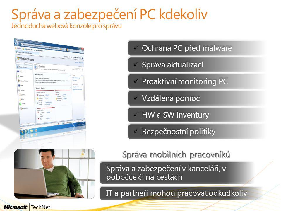Správa a zabezpečení PC kdekoliv Jednoduchá webová konzole pro správu Ochrana PC před malware Správa aktualizací Proaktivní monitoring PC Vzdálená pom