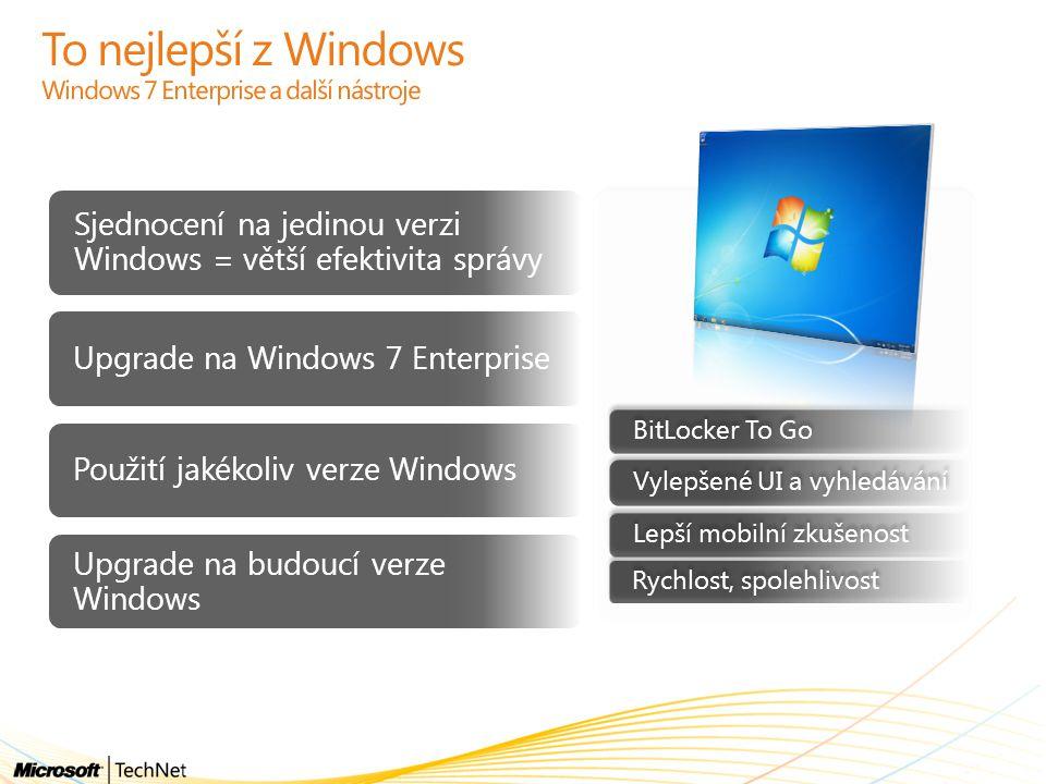 To nejlepší z Windows Windows 7 Enterprise a další nástroje Sjednocení na jedinou verzi Windows = větší efektivita správy Upgrade na Windows 7 Enterpr
