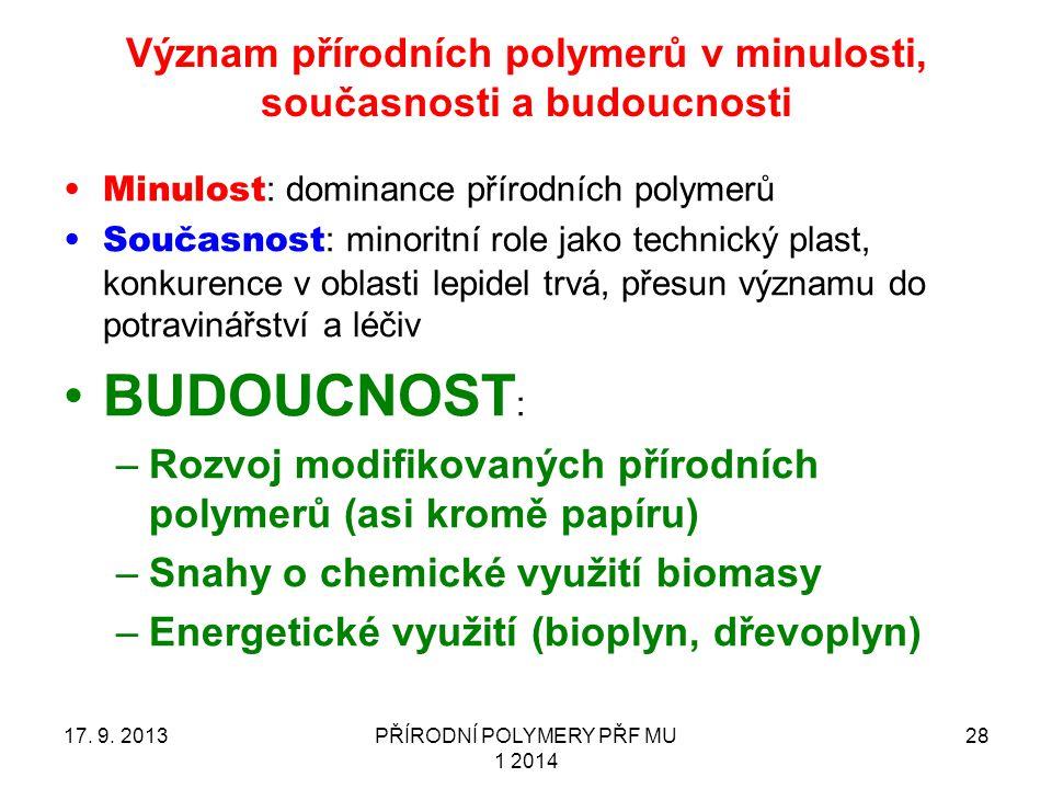 Význam přírodních polymerů v minulosti, současnosti a budoucnosti 17. 9. 2013PŘÍRODNÍ POLYMERY PŘF MU 1 2014 28 Minulost : dominance přírodních polyme