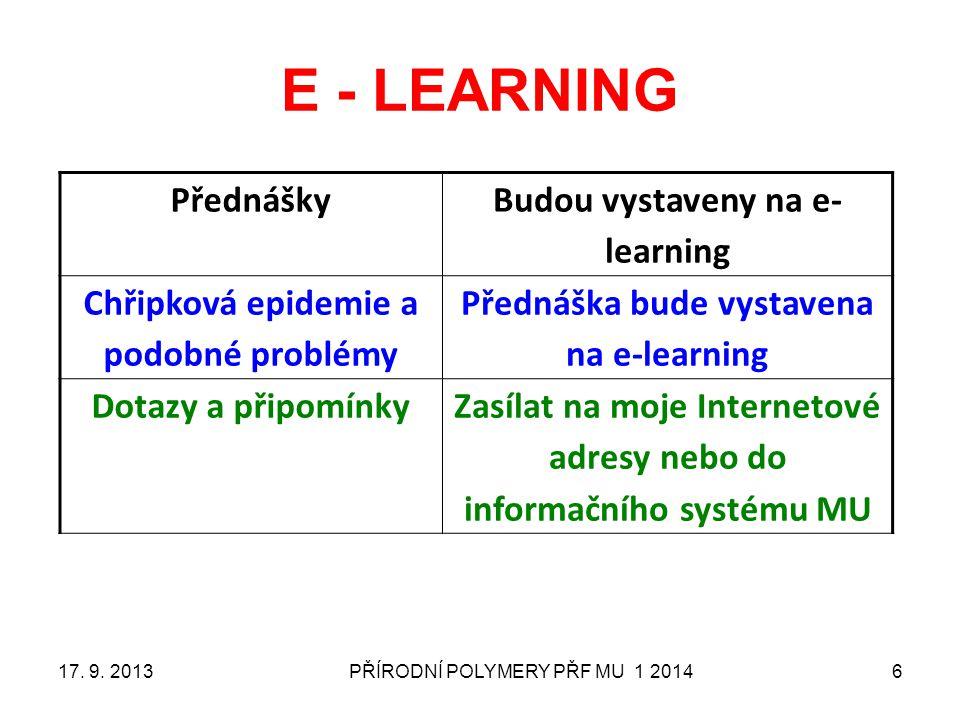 PŘÍRODNÍ POLYMERY PŘF MU 1 20146 E - LEARNING Přednášky Budou vystaveny na e- learning Chřipková epidemie a podobné problémy Přednáška bude vystavena