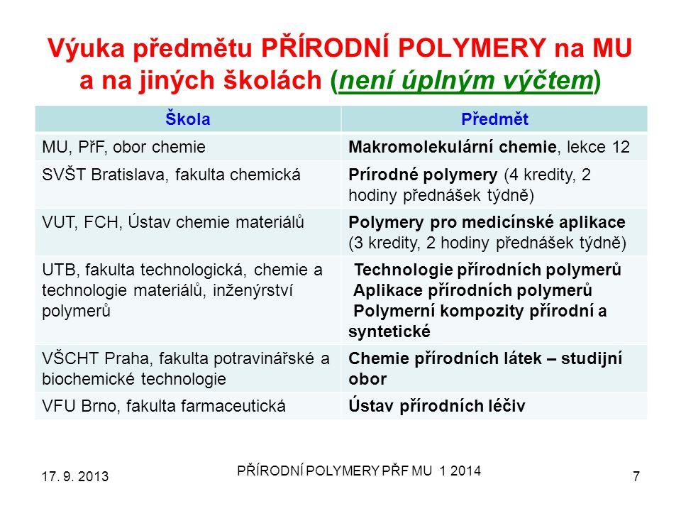 Výuka předmětu PŘÍRODNÍ POLYMERY na MU a na jiných školách (není úplným výčtem) ŠkolaPředmět MU, PřF, obor chemieMakromolekulární chemie, lekce 12 SVŠ