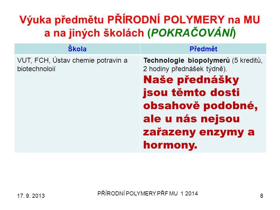 Výuka předmětu PŘÍRODNÍ POLYMERY (LÁTKY) na MU ŠkolaPředmět MU, PřF, obor chemieBioorganická chemie 17.