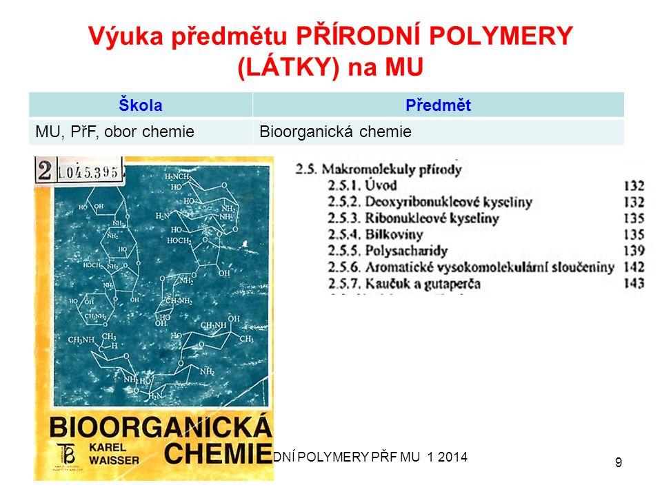 Výuka předmětu PŘÍRODNÍ POLYMERY (LÁTKY) na MU ŠkolaPředmět MU, PřF, obor chemieBioorganická chemie 17. 9. 2013 PŘÍRODNÍ POLYMERY PŘF MU 1 2014 9