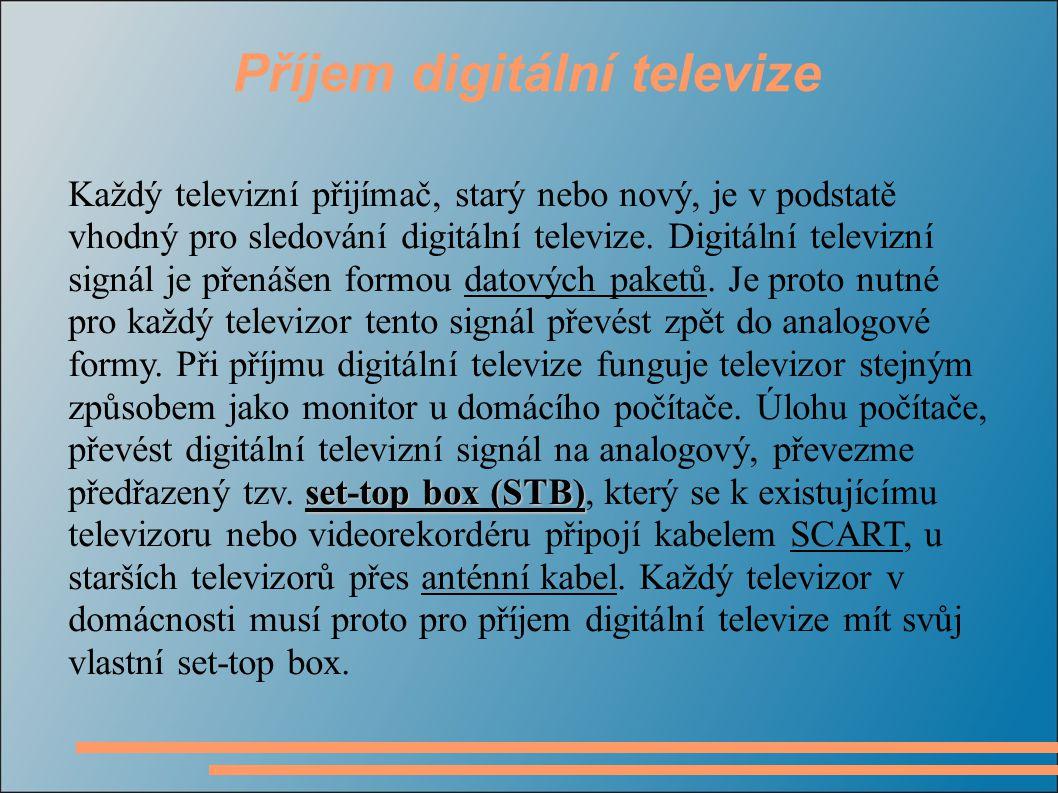 Příjem digitální televize set-top box (STB) Každý televizní přijímač, starý nebo nový, je v podstatě vhodný pro sledování digitální televize.