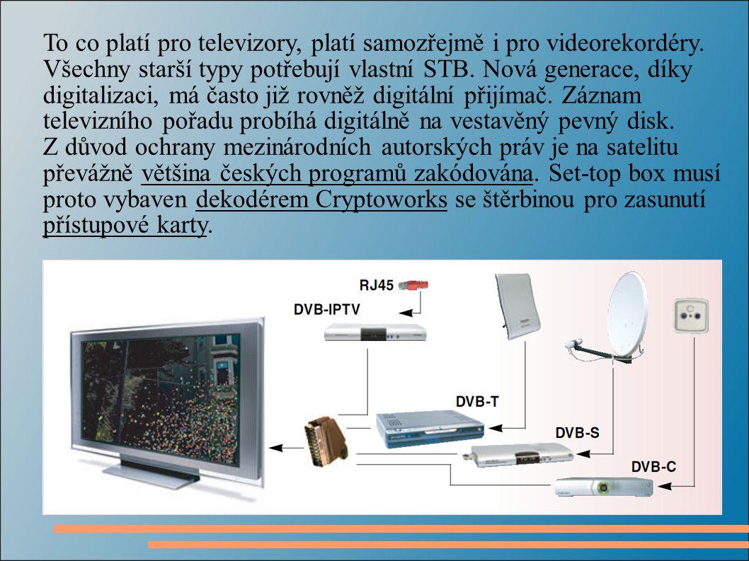 To co platí pro televizory, platí samozřejmě i pro videorekordéry.