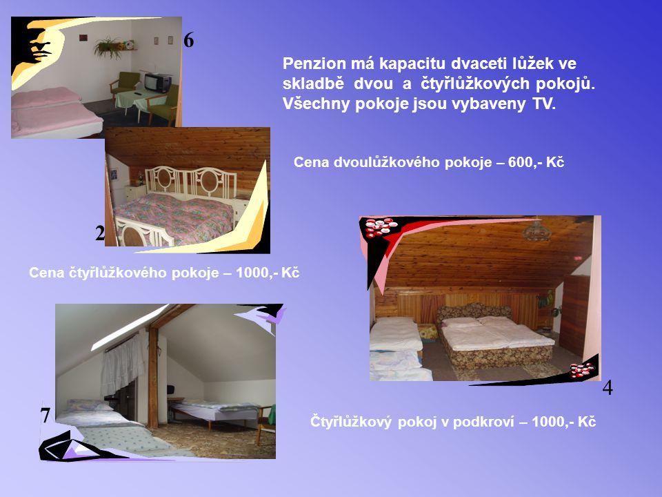 Penzion má kapacitu dvaceti lůžek ve skladbě dvou a čtyřlůžkových pokojů.