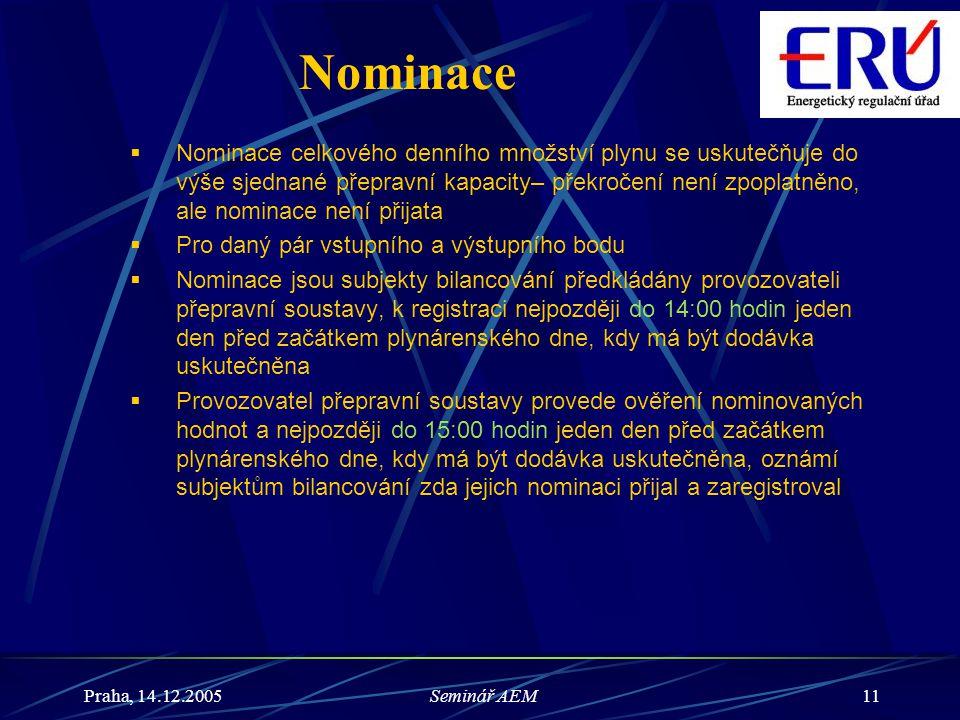 Praha, 14.12.2005Seminář AEM11 Nominace  Nominace celkového denního množství plynu se uskutečňuje do výše sjednané přepravní kapacity– překročení nen