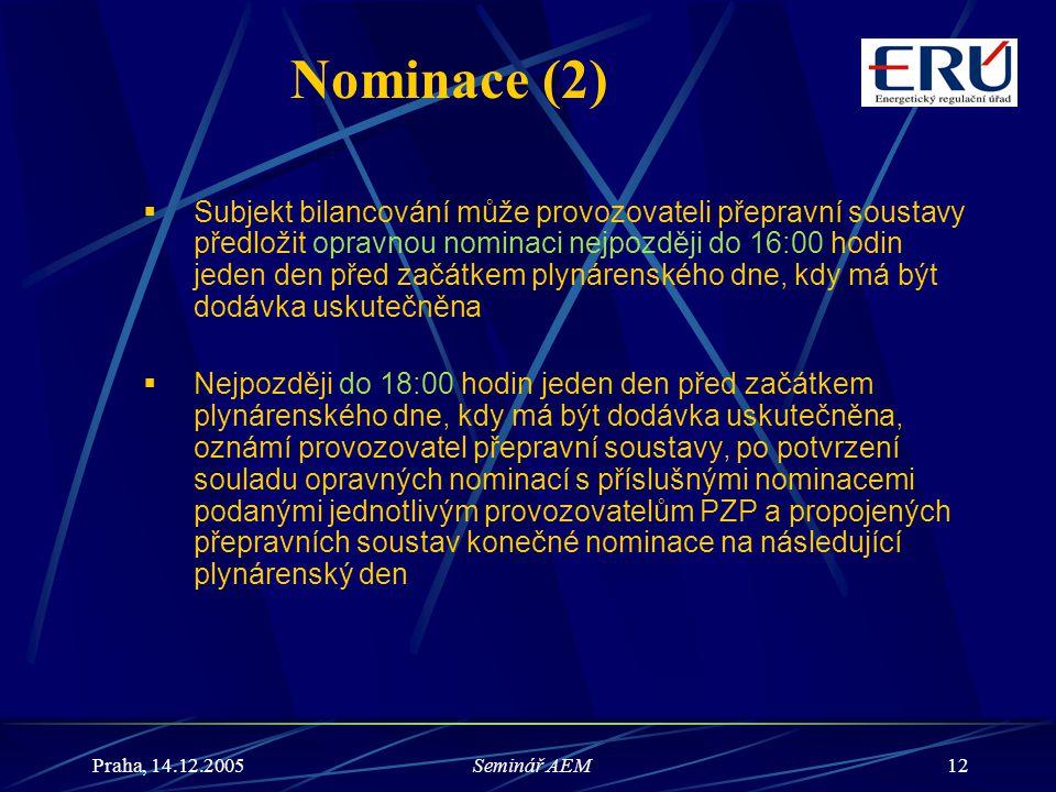 Praha, 14.12.2005Seminář AEM12 Nominace (2)  Subjekt bilancování může provozovateli přepravní soustavy předložit opravnou nominaci nejpozději do 16:0