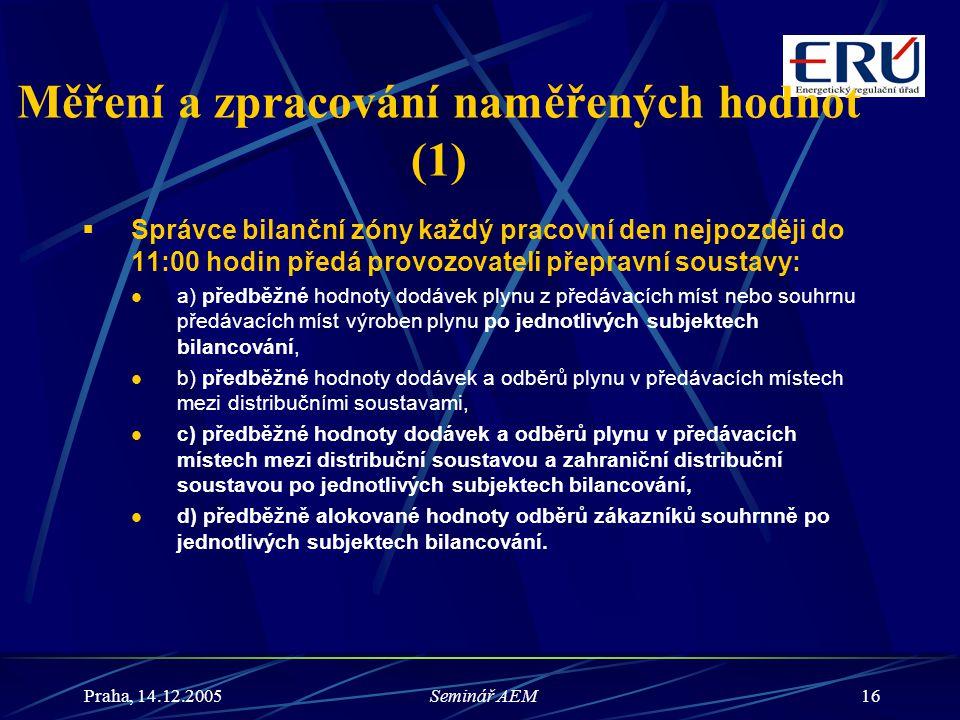 Praha, 14.12.2005Seminář AEM16 Měření a zpracování naměřených hodnot (1)  Správce bilanční zóny každý pracovní den nejpozději do 11:00 hodin předá pr