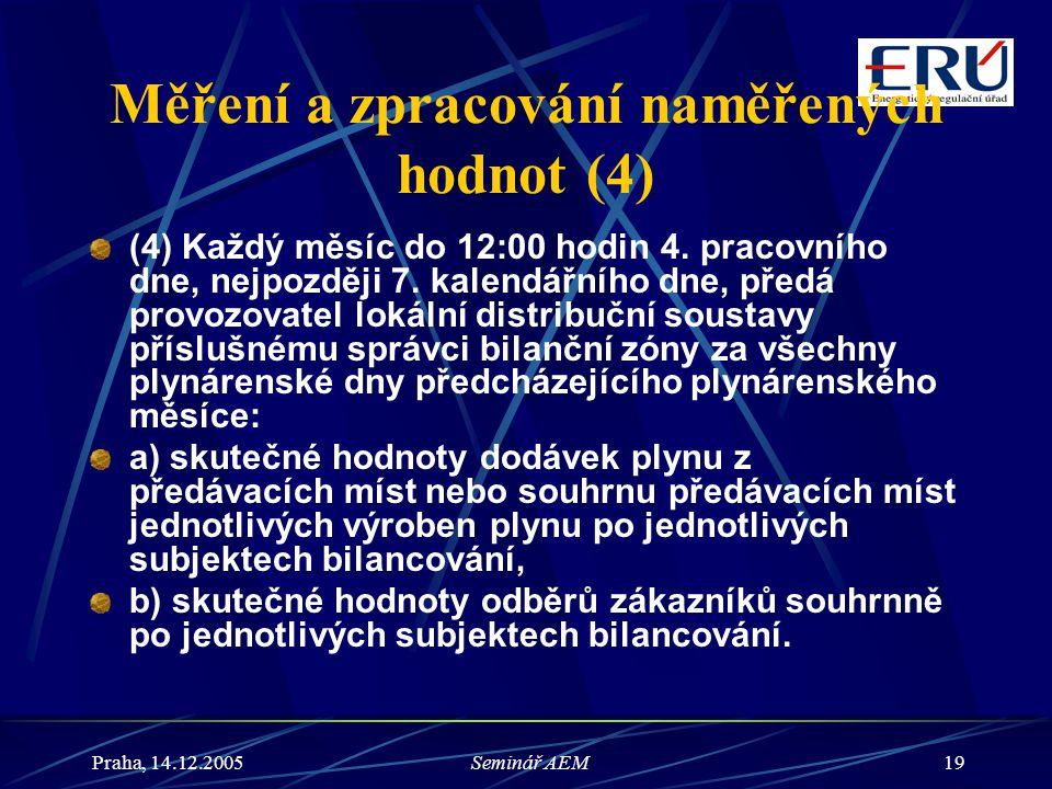Praha, 14.12.2005Seminář AEM19 Měření a zpracování naměřených hodnot (4) (4) Každý měsíc do 12:00 hodin 4. pracovního dne, nejpozději 7. kalendářního