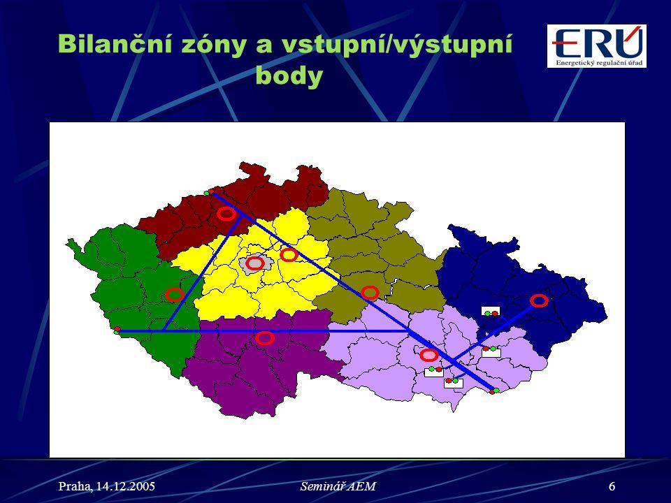 Praha, 14.12.2005Seminář AEM17 Měření a zpracování naměřených hodnot (2) (2) Každý pracovní den do 10:00 hodin předá provozovatel lokální distribuční soustavy příslušnému správci bilanční zóny za předcházející pracovní plynárenský den a za všechny bezprostředně předcházející nepracovní plynárenské dny: a) předběžné hodnoty dodávek plynu z předávacích míst nebo souhrnu předávacích míst výroben plynu po jednotlivých subjektech bilancování, b) předběžné hodnoty odběrů zákazníků souhrnně po jednotlivých subjektech bilancování.
