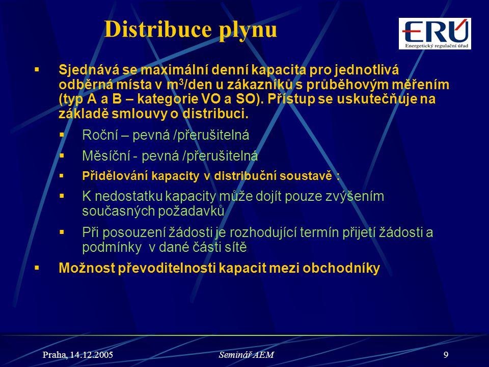 Praha, 14.12.2005Seminář AEM10 Uskladňování plynu  Sjednaný přístup,  Virtuální zásobník (soubor všech PZP 1 provozovatele)  Pro potřeby přepravy při dovozu plynu do ČR se virtuální vstupní body nacházejí v hraničním místě,  Přístup se uskutečňuje na základě smlouvy o uskladnění.