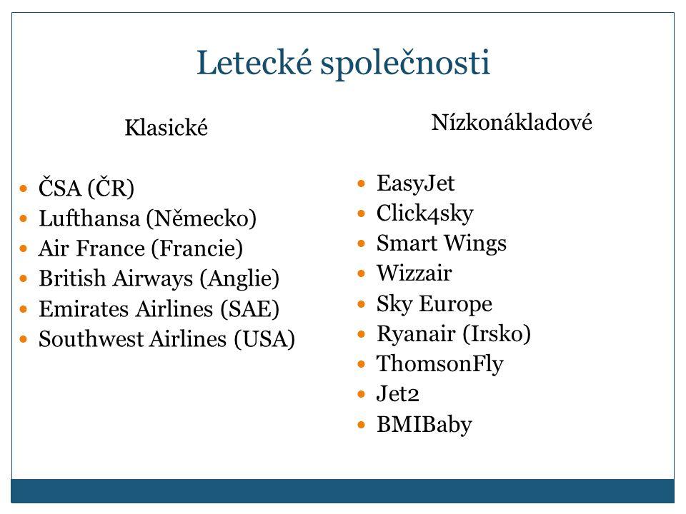 Letecké společnosti Klasické ČSA (ČR) Lufthansa (Německo) Air France (Francie) British Airways (Anglie) Emirates Airlines (SAE) Southwest Airlines (USA) Nízkonákladové EasyJet Click4sky Smart Wings Wizzair Sky Europe Ryanair (Irsko) ThomsonFly Jet2 BMIBaby