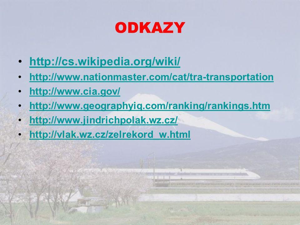 ODKAZY http://cs.wikipedia.org/wiki/ http://www.nationmaster.com/cat/tra-transportation http://www.cia.gov/ http://www.geographyiq.com/ranking/ranking